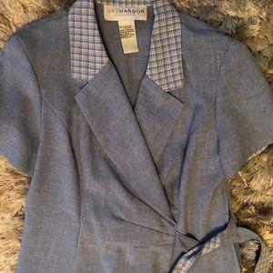 Blue size 6 petite dress pants suit